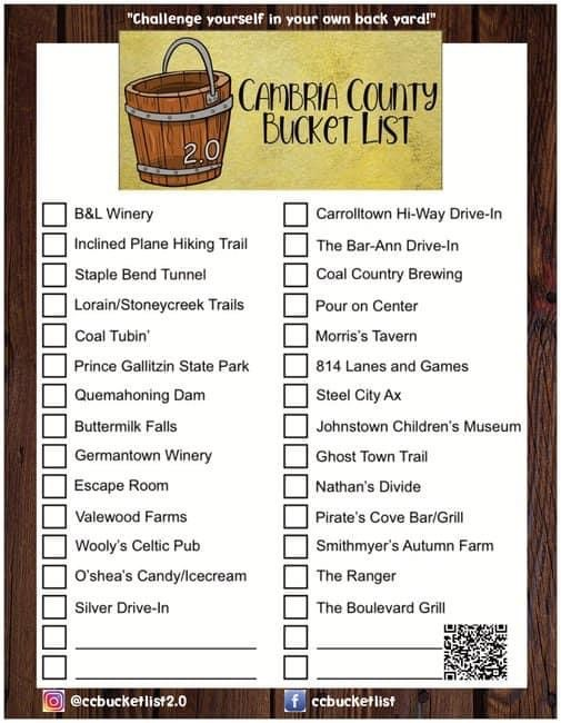 Cambria County Bucket List in Visit Johnstown